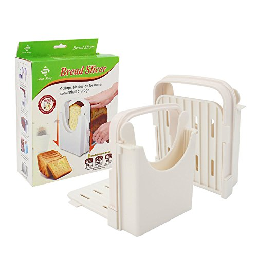 Bread Slicer Toast Slicer Yummy Sam Toast Cutting Guide Bread Toast Bagel Loaf Slicer Cutter Mold Sandwich Maker Toast Slicing Machine Folding and Adjustable with 5 Slice Thicknesses