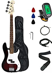Crescent Electric Bass Guitar Starter Kit - Transparent Red Color (Includes CrescentTM Digital E-Tuner)