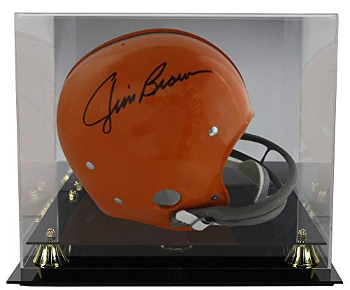 Jim Brown Autographed Signed Cleveland Browns Full Size RK Helmet JSA With Deluxe Football Helmet Display Case ()