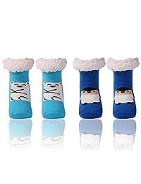 Cute Animal Socks,Home Slipper Girls Boys Fleece Fuzzy Warm Nonskid Cozy Winter Slipper Socks