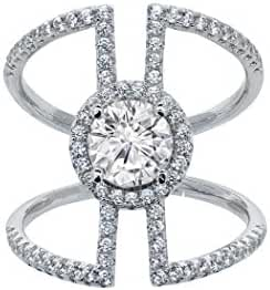 Women Cubic Zirconia Round Halo Pave Cage Ring
