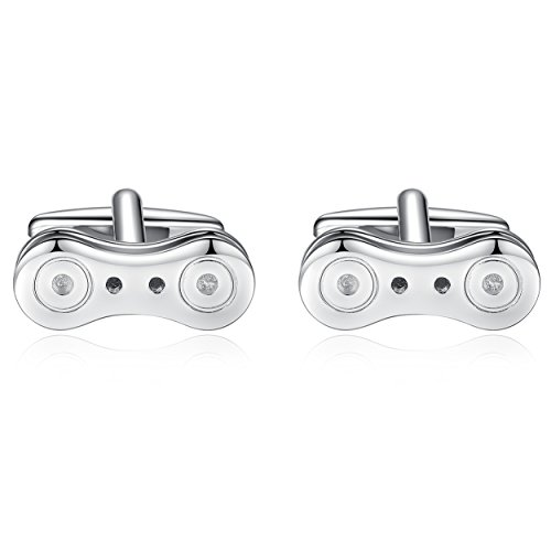 Honey Bear Cufflinks for Men - Silver Bicycle Bike Chain for Wedding Business Shirt (Bicycle Bike Chain) (Chain Cufflinks Link)