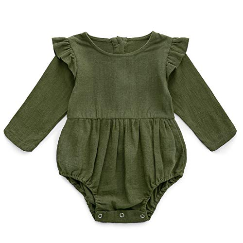 Simplee kids Baby Girls Linen Handmade Jumpsuit Summer Long Sleeve Jumpsuit Newborn Baby and Baby 3-6Months Olive Green (Olive Baby)