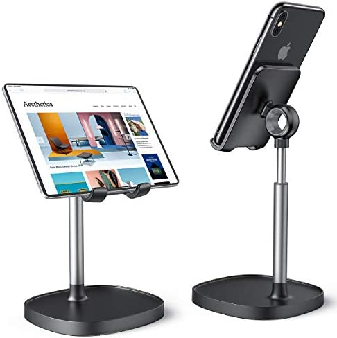 Cell Phone Stand,Angle Height Adjustable Stable LISEN Cell Phone Stand For Desk,Sturdy Aluminum Metal Phone Holder,Compatible with Mobile Phone/iPad Mini