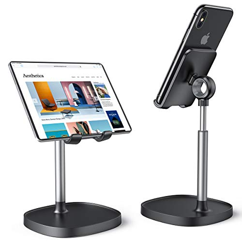 Cell Phone Stand,Angle Height Adjustable Stable LISEN Cell Phone Stand For Desk,Sturdy Aluminum Metal Phone Holder,Compatible with Mobile Phone/iPad/Kindle/Tablet,4-10inch
