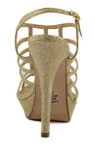 Sandalo Col Tacco Alto Da Donna Con Plateau Con Design Accattivante E Cinturino Posteriore Lt. Luccichio Doro