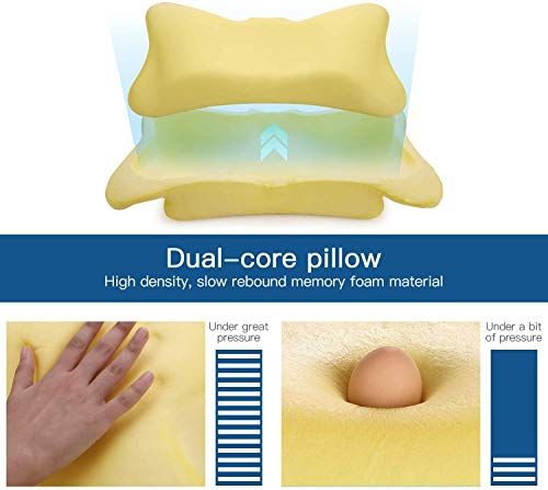 Memory Foam Pillow, Dual-core Ergonomic Sleeper Cervical Pillow Contour Memory Foam Orthopedic Pillows for Neck Pain & Headache, Side/Back/Stomach Sleeper - Washable Cover - White