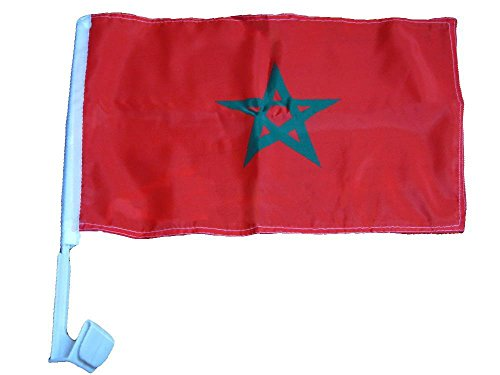 (ALBATROS 12 in x 18 in (Pack of 12) Morocco Country Car Vehicle Flag for Home and Parades, Official Party, All Weather Indoors Outdoors)