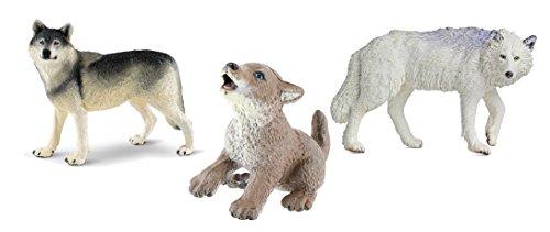 Safari Ltd Wildlife Wonders collection Gray Wolf, Safari Ltd North American Wildlife collection Wolf Pup and Safari Ltd North American Wildlife collection White Wolf bundled by Maven Gifts ()