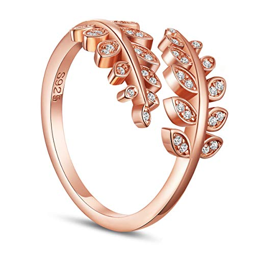 TINYSAND Women's 925 Sterling Silver with 18K Rose Gold Plated Wrap Around Olive Leaf Branch Ring, Paved Cubic Zirconia Stone Adjustable Stackable Open ()