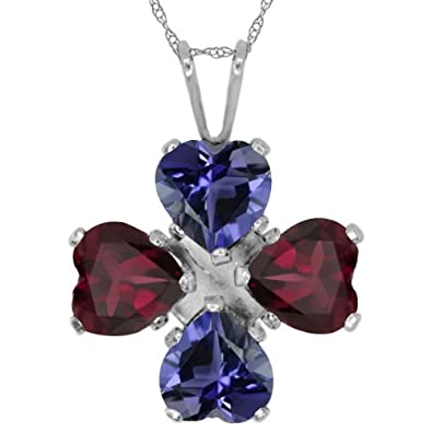 Gem Stone King 2.60 Ct Heart Shape Blue Iolite Red Rhodolite Garnet 925 Sterling Silver Pendant
