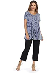 Jess & Jane Womens Mineral Washed Cotton Short Sleeve Tunic Top