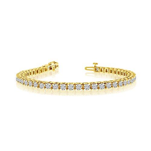 6.00 Carat (ctw) 14k Yellow Gold Round Diamond Classic Square Prong Bracelet - 7