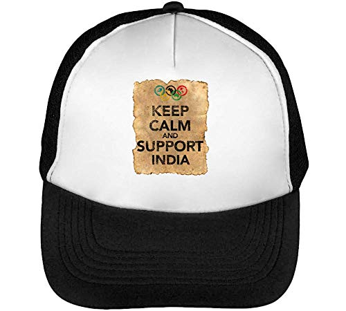 Vintage Keep Calm Support India Gorras Hombre Snapback Beisbol Negro Blanco