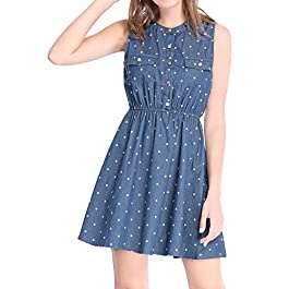 Allegra K Women's Elastic Waist Above Knee Sleeveless Polka Dot Denim Dress