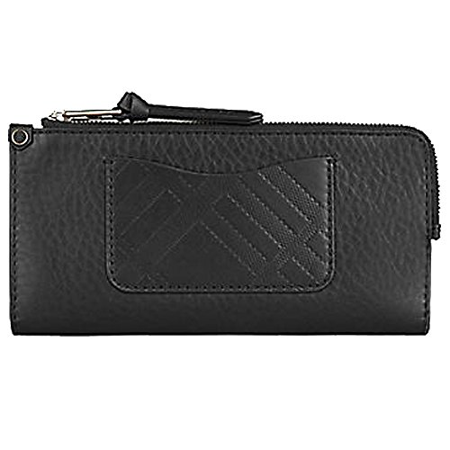 Burberry Men Wallet - Burberry Grainy Leather Embossed Check Detail Continental Wallet Unisex Billfold Trifold Gift (black)