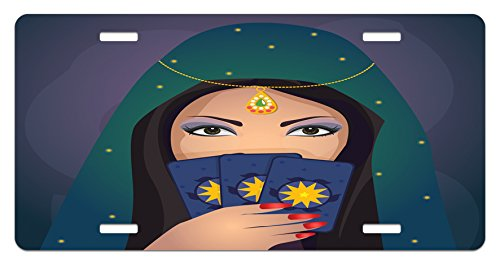 Lunarable Gypsy License Plate, Fortune Teller Woman with a Shawl Holding Tarot Cards Mysterious Young Lady Portrait, High Gloss Aluminum Novelty Plate, 5.88 L X 11.88 W Inches, Multicolor -