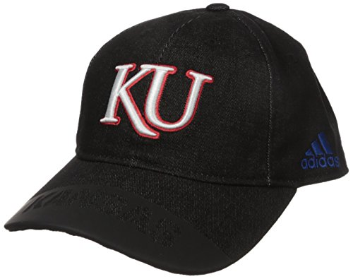 adidas NCAA Kansas Jayhawks Adult Men Player Heathered Slouch Hat, One Size, Black