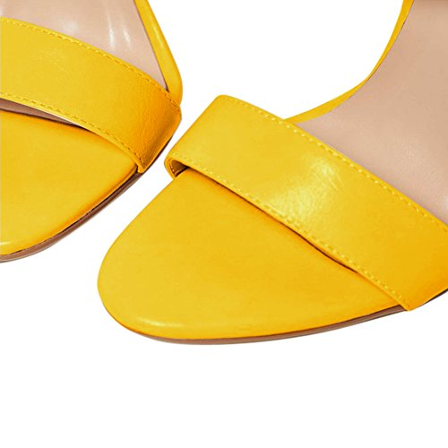 Damen Open Toe Sandalen High-Heels Criss Cross Stiletto Schnalle Slingback Gelb