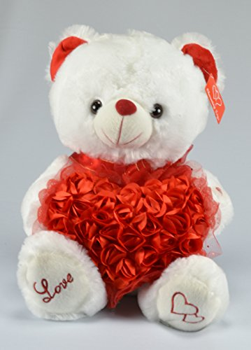 Valentines Day Plush Musical Teddy White Bear with Red Hearts - 15 Inches