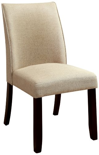 Furniture of America Telstars Upholstered Parson Style Side Chair, Ivory, Set of 2