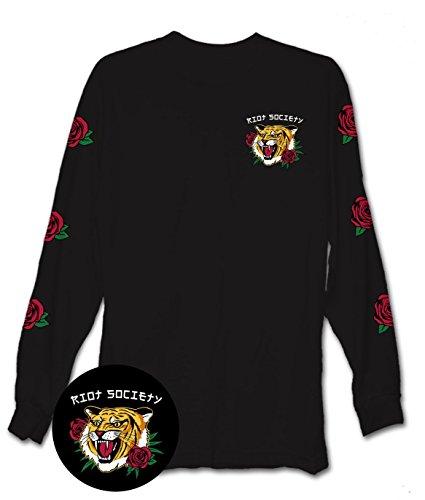 Riot Society Tiger Rose Mens Long Sleeve T-Shirt - (Tiger Graphic T-shirt)