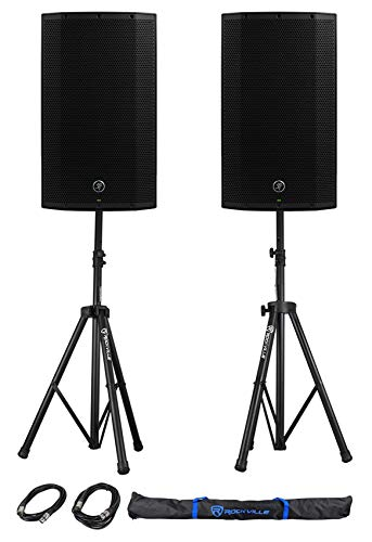 "(2) Mackie Thump12A THUMP-12A 12"" 1300w Powered DJ PA Speakers+Stands+Cables+Bag"