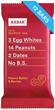 RXBAR, Peanut Butter & Berries, Protein Bar, 1.83 Ounce (Pack of 12) Breakfast Bar, High Protein Snack