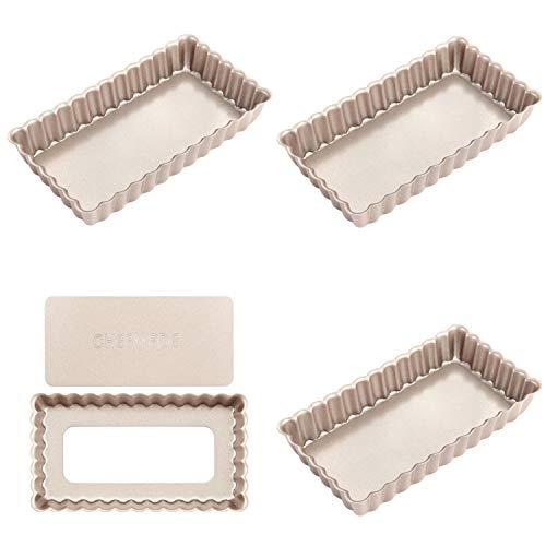 CHEFMADE Mini Rectangle Tart Pan Set, 4-Inch 4Pcs
