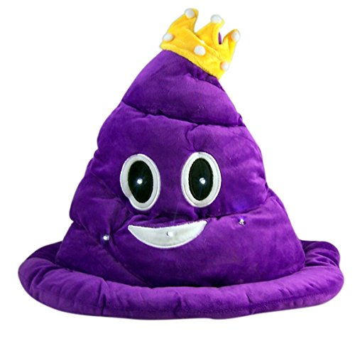 Purple Poop Emoji Light Up Plush Hat with Crown