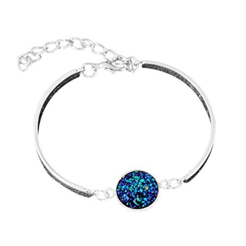 LLguz Simple Temperament Women Fashion Alloy Crystal Style Cluster Bracelet Fashion Color Sanding Bracelet Bangle Bracelet Jewelry (Multicolor G)