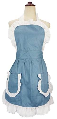 [LilMents Women's Ruffles Outline Retro Pockets Apron Kitchen Cooking Cleaning Maid Costume (Blue)] (Retro Housewife Costume)