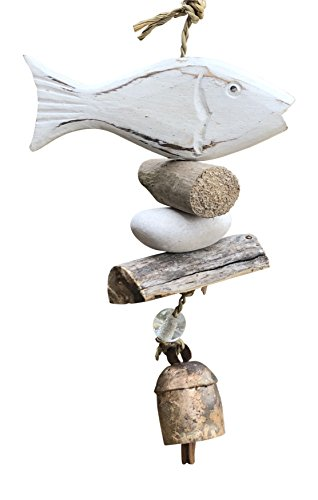 (Wooden White Washed Fish with Stones and Glass Beads 15 in Long Wind Chime With Wood Pieces)