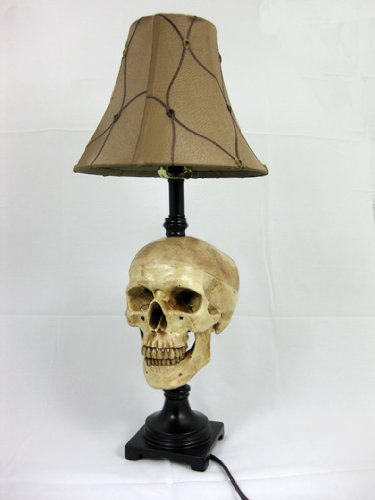 Desk Lamp with Life-size Skull and Antique -