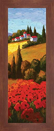 """Tuscan Poppies Panel II by Parrocel - 12"""" x 28"""" Framed Giclee Canvas Art Print Walnut Finish - Ready to Hang"""