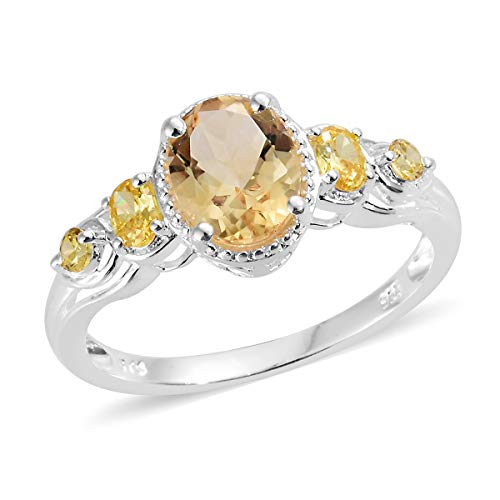 925 Sterling Silver Oval Citrine Cubic Zirconia Yellow CZ Statement Ring for Women Size 8 Cttw ()