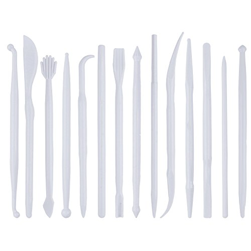 BronaGrand Set of 14 Mini Plastic Crafts Clay Modeling Tool for Shaping and Sculpting White