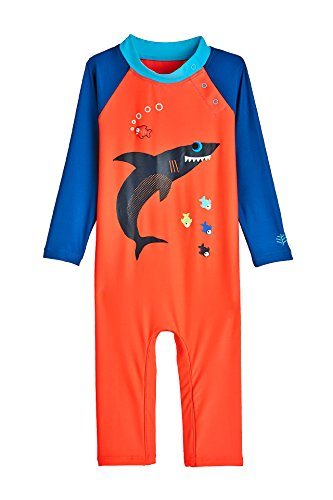 Coolibar UPF 50+ Baby Beach One-Piece Swimsuit - Sun Protective (12-18 Months- Sneaky Shark)