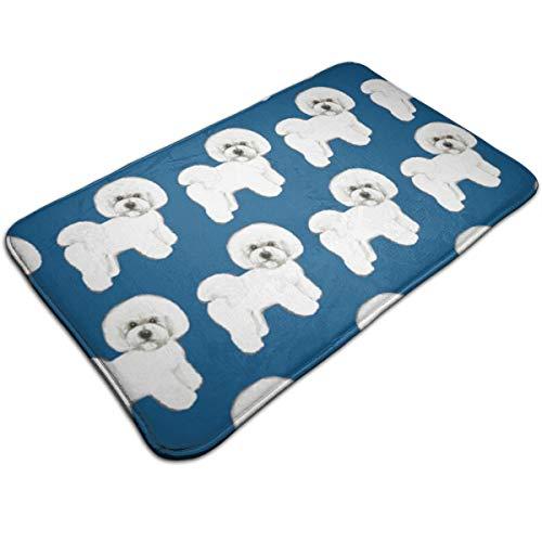 (Niwaww Blue Bichon Frise Fabric Indoor Mud Doormat Non Slip Door Mat for Small Front Door Inside Floor Dirt Trapper Mats Cotton Entrance Rug Shoes Scraper Machine)