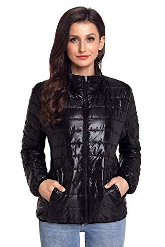 Packable Chic Femme Outwear Manteau Hiver Slim Schwarz Doudoune Mode Battercake Legere Unie Debout Couleur Blouson Col Manches Quilting Longues Fit Elégante OF5w7x