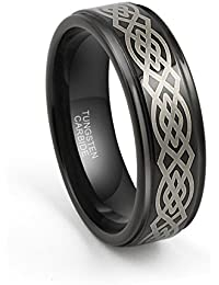 8mm Mens Tungsten Carbide Black Wedding Band Ring Laser Etched Celtic Knot