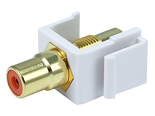 Monoprice 106547 Keystone Jack-Modular RCA with Orange Center, White