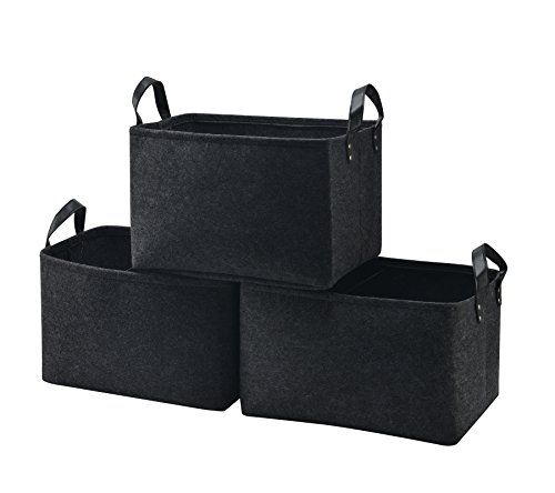 Collapsible Storage Basket Bins [3-Pack], Foldable Felt Fabric Storage Box Cubes Containers with Leather Handles- Large Organizer for Nursery Toys,Kids Room,Towels,Clothes, Black (15.5