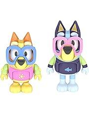 Bluey Zwembadtijd: Bluey en Bingo 2 Figuur Playset Pack Gelede 2,5 Inch Actiefiguren Inclusief 2 paar verwijderbare zwembril Officieel verzamelbaar speelgoed