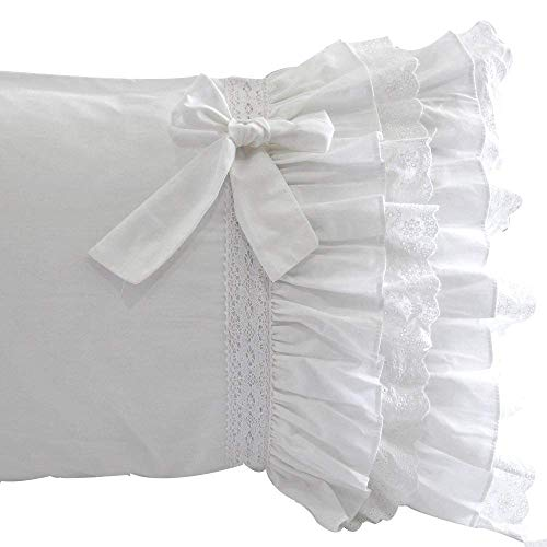 Queens House Lace Pillow Covers White Pillowcases Set of 2-Standard,E