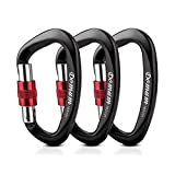 Domum 25kN Locking Climbing Carabiner Clip Holds 4457lbs with Screw Gate EN12275 Certified for Mountain Rock Climbing & Hammock Used for Exploring Rappelling (3-Pack)