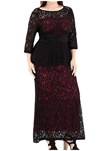 Coolred-femmes Taille Plus Dentelle Classique Smockée Robe Fourreau Taille Crayon Rouge