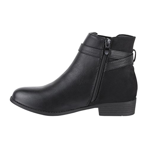 chunkyrayan Strass Boots Schwarz Damen Biker Schnalle London Schuhe Bequeme Lederoptik Elara 8F7Unwxw