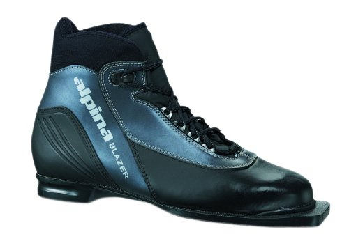 Alpina Blazer Cross-Country Nordic Ski Boots with 3-Pin Soles, Black/Anthracite ,