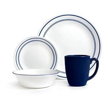 Corelle Livingware 32-Piece Dinnerware Set, Classic Cafe Blue, Service for 8 (Two 16-Piece Sets)